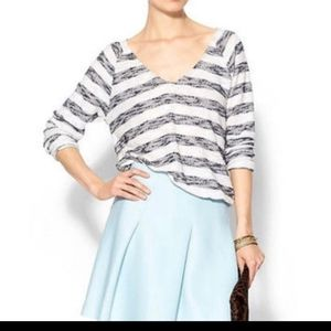 Anthropologie Striped Textured Knit Popover Top